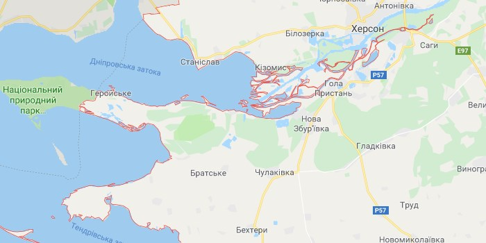 Черное море Херсонская область на карте